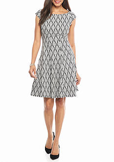 Julian Taylor Diamond Printed Fit and Flare Dress