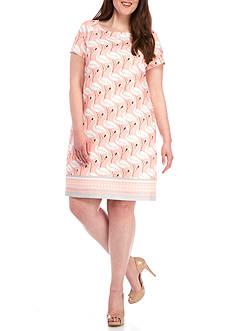 Julian Taylor Plus Size Flamingo Print Shift Dress