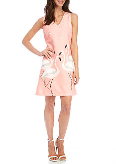 Julian Taylor Flamingo Printed Sleeveless Dress