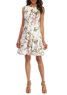 Julian Taylor Floral Keyhole Fit and Flare Dress