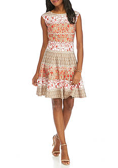 Julian Taylor Printed Fit and Flare Scuba Dress