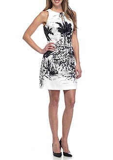 Julian Taylor Scenic Print Shift Dress