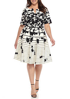 Julian Taylor Plus Size Floral Stripe Dress