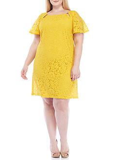Julian Taylor Plus Size Flutter Sleeve Lace Shift Dress