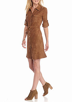 Spense Faux Suede Belted Shirt Dress
