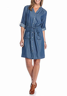 Spense Chambray Drawstring Shirt Dress