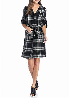 Spense Plaid Drawstring Shirt Dress