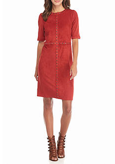 Spense Faux Suede Stud Trim Shift Dress