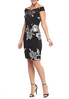 Spense Off the Shoulder Floral Printed Sheath Dress