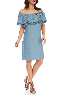 Spense Embroidered Flounce Chambray Dress
