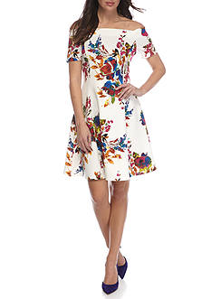Spense Floral Off The Shoulder Scuba Dress