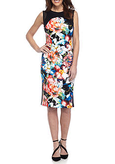 Spense Scuba Floral Sheath Dress