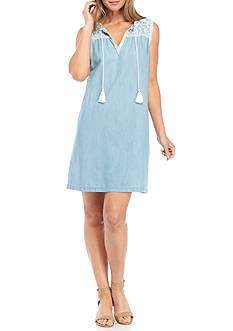 Spense Embroidered Yoke Chambray Shift Dress