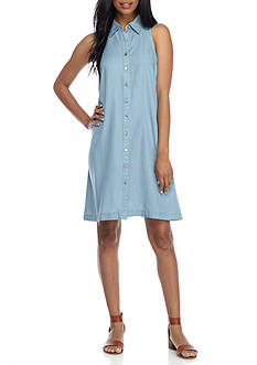 Spense Button Front Denim Shirt Dress