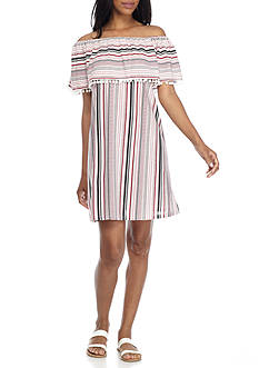Spense Off-the-Shoulder Stripe Shift Dress with Pompom Trim
