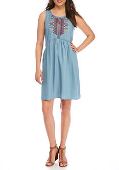 Spense Embroidered Chambray Sleeveless Dress