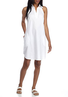 Spense Split-Neck Shirt Dress