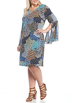 MSK Plus Size Bell Sleeve Printed Shift Dress