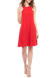 MSK Ruched Neck Halter Jersey Dress