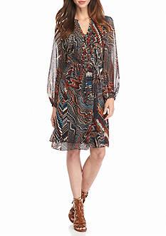 MSK Printed Chiffon Belted Dress
