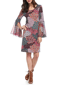 MSK Bell Sleeve Printed Shift Dress