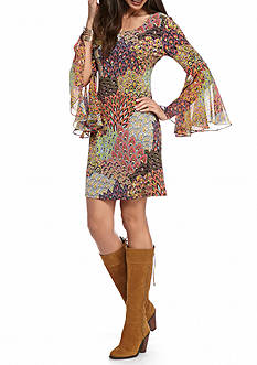 MSK Bell Sleeve Printed Shift Dress