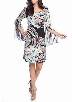 MSK Printed Bell Sleeve Shift Dress