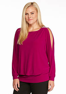 MSK Plus Size Embellished Cold Shoulder Blouse