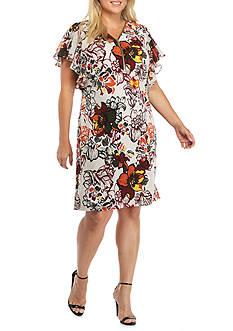 MSK Plus Size Zip Front Printed Shift Dress