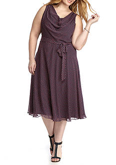 MSK Plus Size Polka Dot Printed Dress