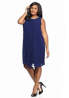 MSK Plus Size Embellished Neckline Shift Dress
