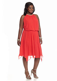 MSK Plus Size Blouson Halter Dress