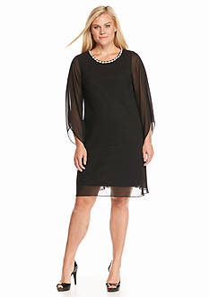 MSK Plus Size Embellished Neck Shift Dress