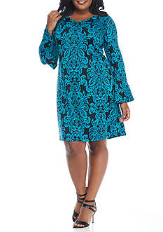 MSK Plus Size Printed Bell-Sleeve Shift Dress