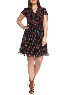 MSK Plus Size Polka Dot Shirt Dress