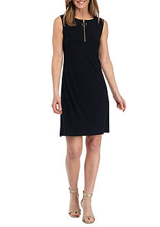 MSK Zip Front Jersey Shift Dress