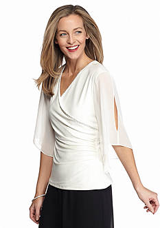 MSK Surplice Blouse with Beaded Neckline