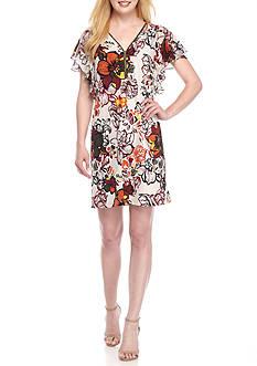 MSK Flutter Sleeve Zip Front Jersey Dress