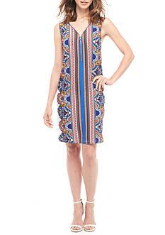 MSK Printed Zipper Front Jersey Dress