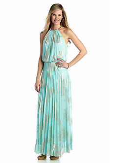 MSK Pleated Halter Gown