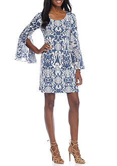 MSK Bell-Sleeve Printed Shift Dress