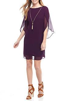 MSK Flutter Sleeve Shift Dress with Necklace