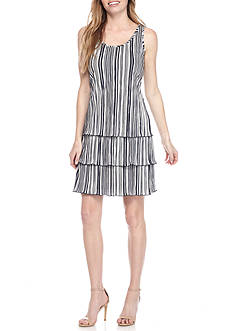 MSK Stripe Tiered Drop-waist Dress