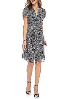 MSK Printed Pintuck Shirt Dress