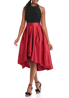 SL Fashions Halter Taffeta High Low Hem Dress