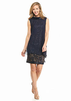 SL Fashions Lace and Sequin Dress with Chiffon Overlay