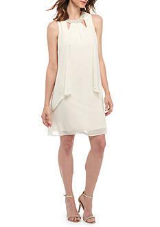 SL Fashions Beaded Neck Trapeze Flyaway Dress