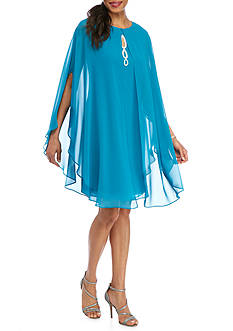SL Fashions Sheer Overlay Rhinestone Gown