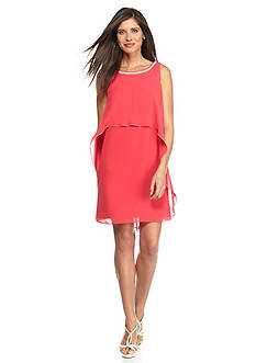 SL Fashions Pearl Neckline Dress with Overlay