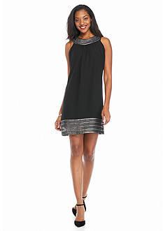 SL Fashions Foil Trim Halter Shift Dress